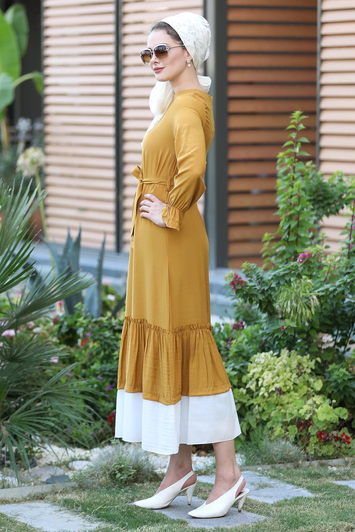 Mihrunisa Fırfırlı Airobin Yazlık Elbise - Hardal
