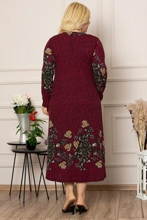 1fazlası Kadın Siyah Çiçek Desen Uzun Esnek Krep Elbise 4