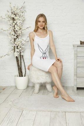 Tena Moda Kadın Beyaz Ip Askılı Bugs Bunny Baskılı Gecelik Pijama 1