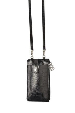 Bakras Siyah Fermuarlı Kart Bölmeli Omuz Askılı Telefon Çantası 1
