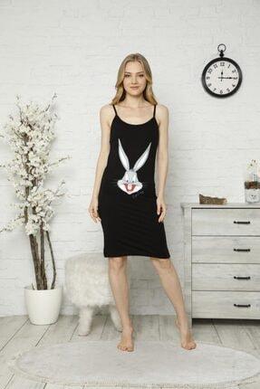 Tena Moda Kadın Siyah Ip Askılı Bugs Bunny Baskılı Gecelik Pijama 0