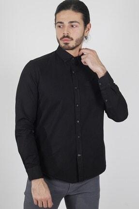 Jakamen Siyah Slim Fit Tek Cepli Desenli Gömlek 1