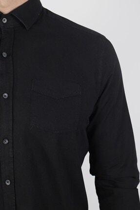 Jakamen Siyah Slim Fit Tek Cepli Desenli Gömlek 2