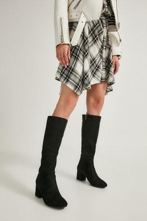 Bambi Siyah Süet Kadın Çizme M0842081565 0