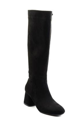 Bambi Siyah Süet Kadın Çizme M0842081565 2