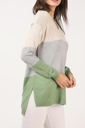 Tena Moda Kadın Taş- Gri-mint V Yaka Üç Parçalı Yanı Yırtmaçlı Triko Kazak 2