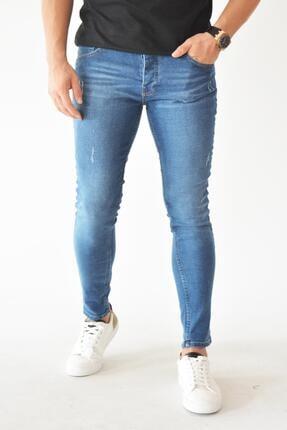 Skinny Jean Likralı Mavi Erkek Kot Pantolon 1007005