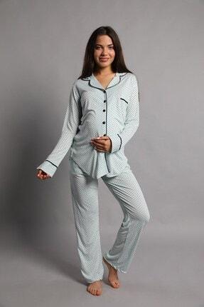 Lohusa Sepeti Justine Önden Düğmeli Pijama Takımı Mint Yeşili 1