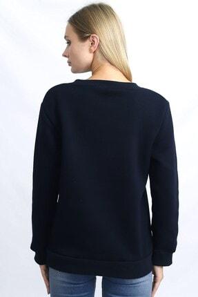 Deafox Lacivert Kadın Üç Iplik Sweatshirt 3