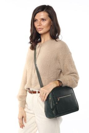 Madamra Aynı Butikte 2.Ürün 1 TL Yeşil Kadın Çok Bölmeli Omuz Çantası Çapraz Çanta ve El Çantası 1