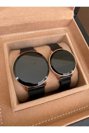 Gold Time Siyah Hasır Mıknatıslı Kordon Dokunmatik Çift Saatleri 0