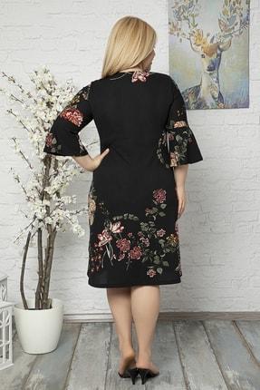 1fazlası Kadın Büyük Beden Volan Kol Krep Kumaş Elbise 4