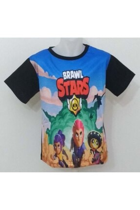 elitbebe Brawl Stars Erkek Çocuk Siyah Digital Baskılı Kısa Kollu Tişört 1