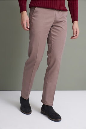 Tena Moda Erkek Koyu Vizon (214) Klasik Rahat Kalıpkumaş Pantolon 1