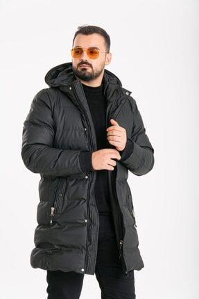 ECHERCHI Erkek Siyah Uzun Kürklü Mont 1
