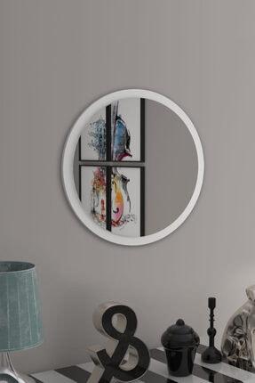 bluecape Yuvarlak Beyaz Duvar Salon Ofis Aynası 45cm 1