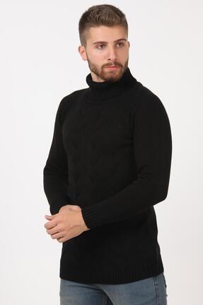 Tena Moda Erkek Siyah Balıkçı Boğazlı Yaka Reglan Kol Normal Fit Triko Kazak 2