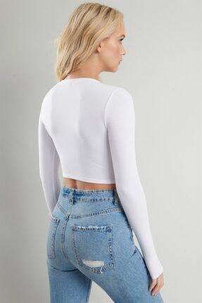 PUNKY CAT Kadın Beyaz Uzun Kollu Crop Sweatshirt 2