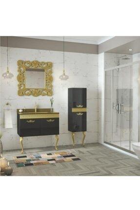 Housepack Gold Siyah 115 Cm Boy Dolaplı Cam Lavabolu Lüx Banyo Takımı 1