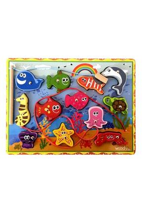WoodyLife Ahşap Balık Tutma Oyunu 12li Ip Dizme Bultak Çocuk Oyuncak 1