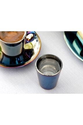 English Home Jade Cam 6'lı Kahve Yanı Su Bardağı 45 Ml Mavi - Lacivert 1
