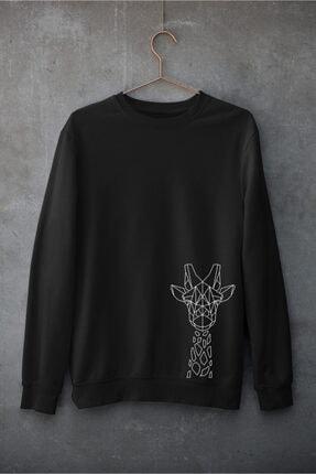 bibaskıyap Giraffe Line Unisex Sweatshirt Pamuklu Bisiklet Yaka Siyah 0