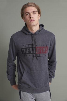 Tena Moda Erkek Antrasit Kapşonlu Kanguru Cepli The Wint Life Baskıl Sweatshirt 0