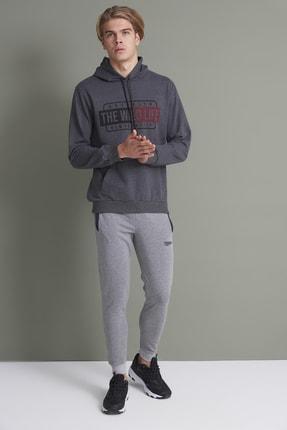 Tena Moda Erkek Antrasit Kapşonlu Kanguru Cepli The Wint Life Baskıl Sweatshirt 3