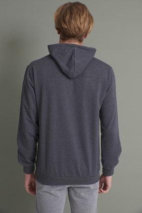 Tena Moda Erkek Antrasit Kapşonlu Kanguru Cepli The Wint Life Baskıl Sweatshirt 4
