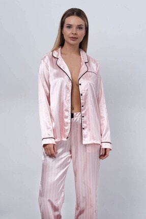 C&City Ruby Bristol Kadın Saten Uzun Kol Gömlek Pantolon Takım Pembe/ekru 0