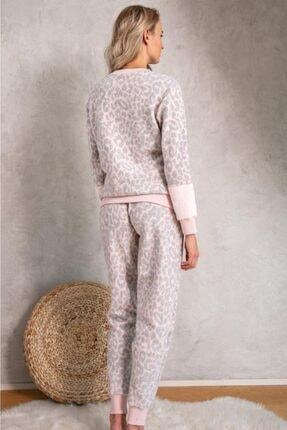 LİNGABOOMS 1074 Uzun Kol Bisiklet Yaka Kadın Polar Leopar Desenli Nakış Detaylı Pijama Takımı 1