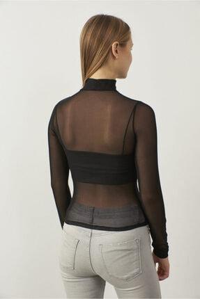 Bipantolon Kadın Siyah Tül Transparan Bluz 3