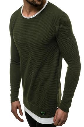 Oksit Mach Etek Yaka Garnili Ottoman Erkek Sweatshirt 0