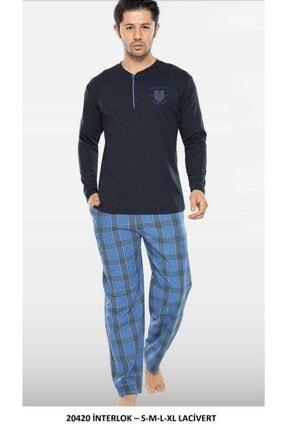 20420 Erkek 2 Iplik Pijama Takımı Lacivert resmi
