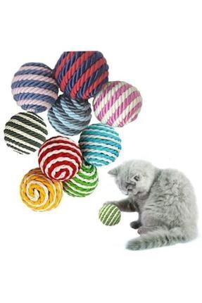 TİNEKE Ip Sarma Renkli Kedi Oyun Topu 4 Cm ( 1 Adet ) Kedi Oyuncağı 0