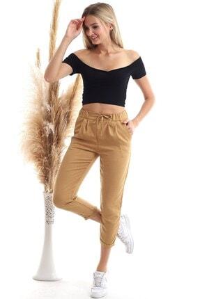 Cotton Mood 20343111 Viskon Flamlı Fermuarlı Fleto Cepli Havuç Pantolon Bisküvi 4