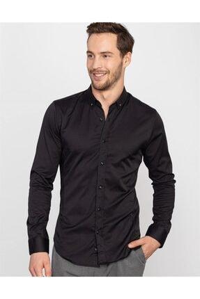 Tudors Süper Slim Fit Likralı Siyah Erkek Gömlek 0