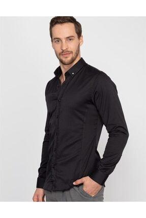 Tudors Süper Slim Fit Likralı Siyah Erkek Gömlek 1