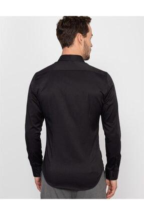 Tudors Süper Slim Fit Likralı Siyah Erkek Gömlek 2