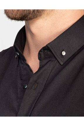 Tudors Süper Slim Fit Likralı Siyah Erkek Gömlek 3