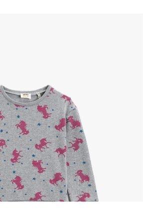 Koton Kız Çocuk Gri Unicorn Baskılı Bisiklet Yaka Uzun Kollu Sweatshirt 2
