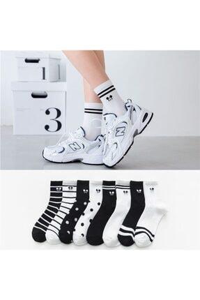 çorapmanya 8 Çift Çok Renkli Mouse Desenli Çizgili Pamuklu Kolej Tenis Çorap 0