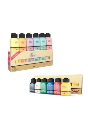 Artdeco 6 Pastel 6 Canlı Renk Akrilik Boya 12*75 ml Set 0