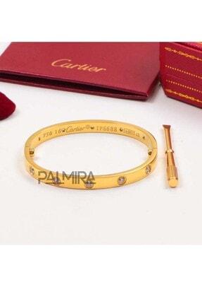 Black Dice Altın Renk Cartier Love Taşlı Çelik Bileklik 4