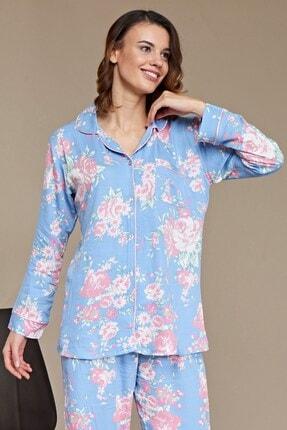 Lohusa Sepeti Gül Desenli Önden Düğmeli Pijama Takımı - B29020 0