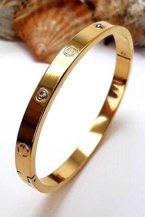 Bin1Gecem Takı Kadın Zirkon Taşlı Paslanmaz Çelik Cartier Bileklik Bilezik 18 Cm 4