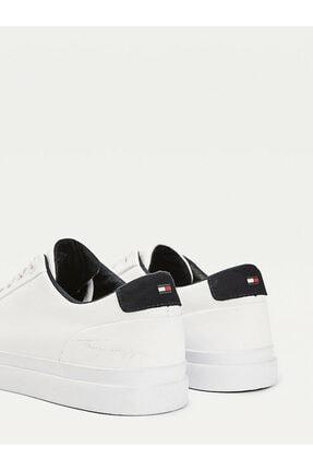 Tommy Hilfiger Erkek Beyaz Sneaker Corporate Deri Sneaker FM0FM02983 1