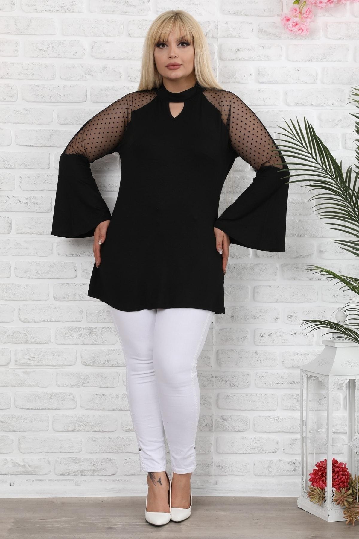 Kadın Büyük Beden Siyah Ispanyol Kol Puantiye Desenli Bluz