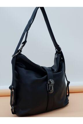 ESNASTORE Kadın Siyah Yumuşak Derili Kilitli Model Omuz Askılı Çanta 0