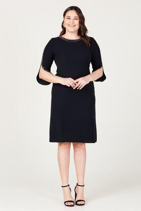 MI Kadın Siyah Uzun Kol Taşlı Elbise 20y..elb.71025.01 0